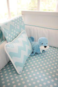 Zig Zag Baby in Aqua Crib Blanket