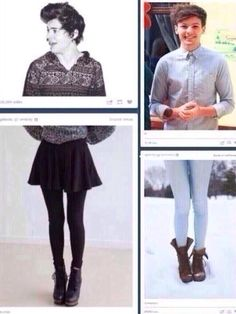 oh my gosh<<< loubear would wear both of those outfits if needed... and those leggins are WAY too big for harry's taste XD