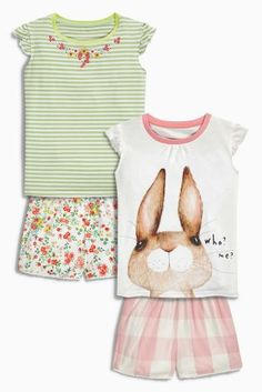 Buy Multi Rabbit Shorts Pyjamas Two Pack (9mths-8yrs) from the Next UK online shop