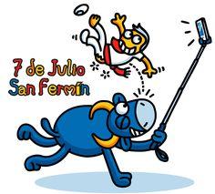 7 de Julio San Fermín. Vector e imagen normal de los Sanfermines tipo cartoon o humorística. Descarga gratis. Map Of Spain, Totoro, Smurfs, Disney Characters, Fictional Characters, Spanish, Clip Art, Kids, Saints