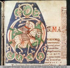 Codex Claustroneoburgensis 742 Description Historiated initial A. Soldier on horseback. Spear. Aeneis. Date late 12th century Source 5723 Language Latin Rights Copyright© Hill Monastic Manuscript Library and Stift Klosterneuburg. All rights reserved. Author Virgilius. Folio 165 f.
