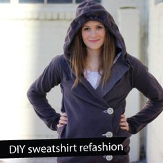 sweatshirt liposuction - DIY 3 button sweatshirt - step by step instructions