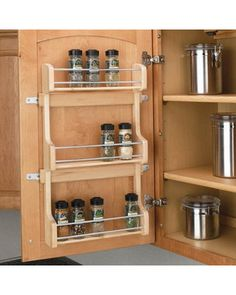 inside the cabinet spice rack