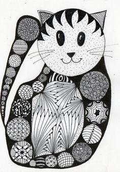 #cat, #tangles, tangle art