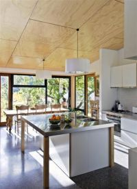 Blond plywood ceilings, white kitchen joinery and a concrete floor give a stripped-back feel to the interior.