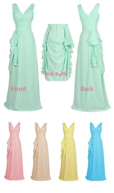 Sheath V Neck Chiffon Long Bridesmaid Dress With Pleating #prom #evening #bridesmaid #party #dress