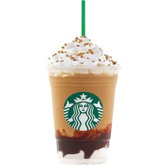 Starbucks's Newest Frappuccino Flavor Is Guaranteed to Make You Freak... ❤ liked on Polyvore featuring food, food and drink, drinks, accessories, fillers and backgrounds