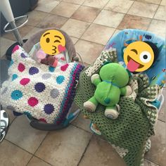 Both blankets made by me  #custoom #hookedbyjah #crochetaddict #crocheteveryday #jahknits #jahknitsbaby #crochet #croche #crochetaddict #crocheting #babygirl #babyboy #blanket #hat #pillow #yarnaddict #iloveyarn #instacrochet #redheartyarn #circles #stripes #grannysquares #pompom #colors #finished #working #handmade #madebyme #keepsake #gift by hookedbyjah