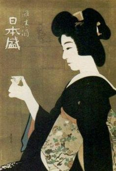 清酒・日本盛のレトロポスター。浮世絵風ですね。(SAKE/NIPPON SAKARI)