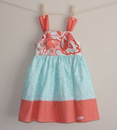 coral and blue little girl dress