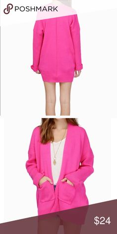 Brand New Pink Cardigan Brand new with tag. It is a cute bright pink cardigan. Perfect for a casual look Sweaters Cardigans