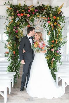 """Devon Vanderslice and Jake DeVries spent about years planning the wedding of their dreams. """"We wanted our wedding day to be a perfect representati Wedding Arch Greenery, Wedding Flower Arrangements, Wedding Flowers, Wedding Dresses, Wedding Arches, Romantic Couples, Romantic Weddings, Real Weddings, Our Wedding Day"""