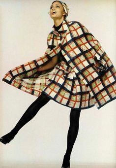 1960s plaid outfit suit skirt dress cape jacket color photo print ad vintage fashions style model magazine gold yellow brown black tan neutral tones