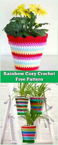 Crochet Rainbow Plant Pot Cozy Cover Free Pattern