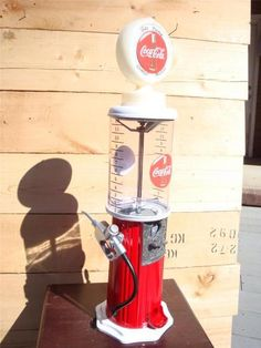 Gas Pump Coca Cola Gumball Candy Nut Machine Signs Soda Bottle Coke Coin Op | eBay