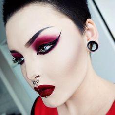 "Eyeshadow is ""Guren"" by #violentmaiden , eyeliner by #eyeko and lippie is ""Wicked"" by #limecrime"