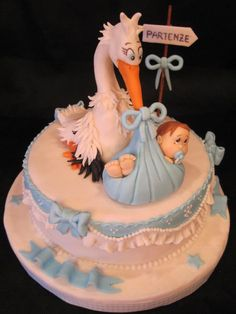 baby departing - Cake by Sheila Laura Gallo Torta Baby Shower, Fancy Cakes, Cute Cakes, Beautiful Cakes, Amazing Cakes, Stork Cake, Rodjendanske Torte, Stork Baby Showers, Baby Girl Cakes