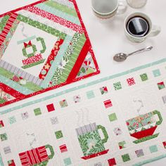In From The Cold projects by Kate Spain for Moda Fabrics; free patterns for placemats, table runner, and quilt