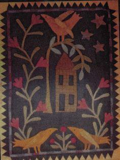 Midnight Garden - Wool Applique Penny Rug