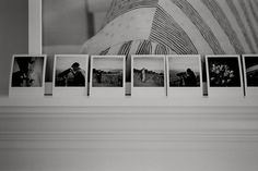 mantle lined with polaroids