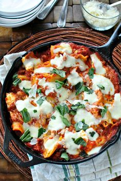 Easy Skillet Lasagna I use cream cheese instead and cook the lasagna seperate. It cools faster if I do.