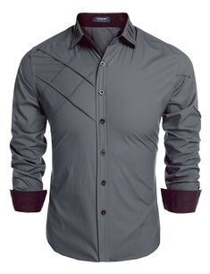 Coofandy Men's Fashion Slim Fit Dress Shirt Long Sleeve Casual Shirts Material:Cotton Style:Fashion,Casual The shirts size is USA size Brand:Coofandy,Made in Zeagoo Group Limited. Please check product description before ordering to ensure accurate fitting Mens Kurta Designs, Mens Designer Shirts, Designer Clothes For Men, Stylish Mens Outfits, Stylish Shirts, Mens Shirt Pattern, Formal Shirts For Men, Mens Fashion Suits, Men's Fashion