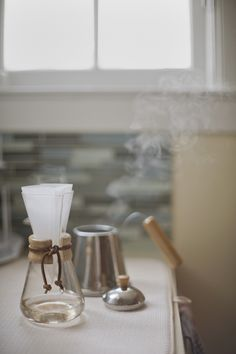Mini Chemex - how we make our coffee after going through every brand of coffee maker over the years. Back to the basics. Always tastes good. Always the right temp. No plastic.
