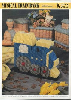 Musical Train Bank Plastic Canvas Pattern by needlecraftsupershop, $3.50