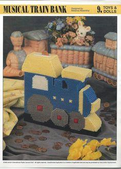 Musical Train Bank Plastic Canvas Pattern by needlecraftsupershop, $3.50