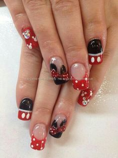 Disney Mickey or Minnie Mouse nail art with bows and Swarovski crystal mickeys Mickey Mouse Nail Art, Mickey Nails, Minnie Mouse Nails, Disney Mickey, Fancy Nails, Love Nails, Pretty Nails, My Nails, Disney Nail Designs