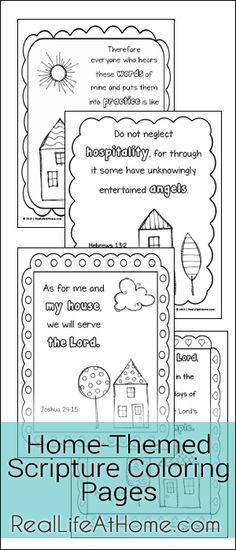 Free Scripture Coloring Pages Featuring Doodle Designs and Home-Themed Scriptures | http://RealLifeAtHome.com