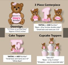 Baby Girl Pink Teddy Bear Baby Shower or First by bcpaperdesigns