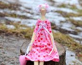 Tilda in pink dress with heart. Valentine's Day. Handmade doll. Home decor. Gift with love.