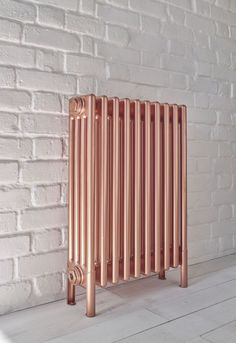 Bisque Classic radiator in rose copper. The gorgeous Rose Copper finish contains genuine copper but is overlaid with a matt lacquer which prevents further tarnishing, whilst still maintaining the beautiful glow. Flat Panel Radiators, Old Radiators, Bathroom Radiators, Column Radiators, Cast Iron Radiators, Washroom, Painted Radiator, Hydronic Heating, Designer Radiator