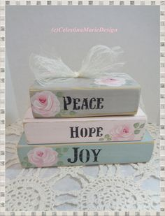 Shabby Wood Faux Book Block Set Home by CelestinaMarieDesign