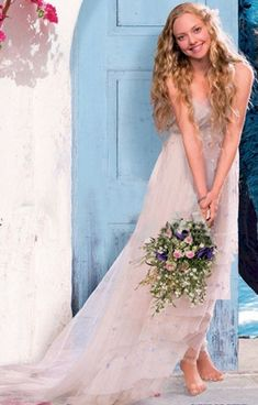 """Wedding dress from """"Mamma Mia!"""" - very pretty and beautiful flowers as well"""
