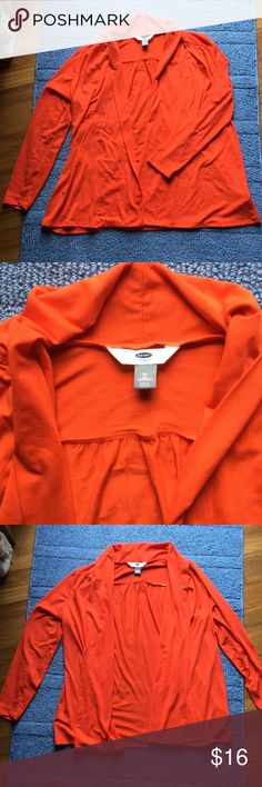 Bright Orange Old Navy Cardigan--Like New! This cardigan is so soft and beautiful. Can be worn more open and flowy or more gathered around you. I forgot I had it and already own another orange Cardigan so I'm selling this one. Size: 1X but would also fit anyone who wears an XXL in Old Navy clothes. Old Navy Sweaters Cardigans