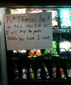 Pretty much how we all feel about the vending machines in Taylor Hall