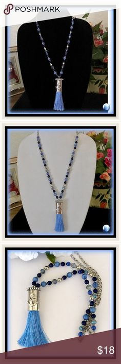 """🌺🌴🌺 EXTRA LONG TASSEL PENDANT 🌺🌴🌺 🌺🌴🌺 This tasseled pendant has the most beautiful shades of blue.  Some of the beads are a perfect match with the blue tassels.  There is a mixture of smoky blue crystal beads, medium blue, navy blue and silver.  The tassel itself has a nautical theme with an anchor on the front of the encasement.  The chain measures:  38"""".  The beads alone measure:  16"""".  This pendant has much versatility in the length. 🌺🌴🌺 Jewelry Necklaces"""