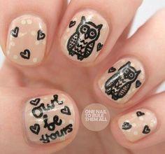 cute doodle owl nails!