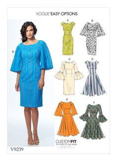 Vogue Patterns Easy Options Custom Fit sewing pattern. V9239 MISSES' PRINCESS SEAM DRESSES WITH SLEEVE AND SKIRT VARIATIONS