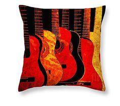 Guitar Art Pillow Red Art Pillow Music Home by GrayWolfGallery