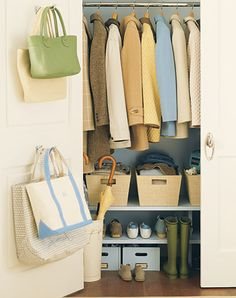 11 Storage Solutions That Keep Clutter Away - Circle of Moms: This would make the front closets work better.  All the materials are available at Target too.