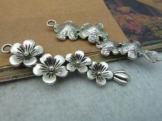 8 Pcs 15x57mm Antique Silver Chinese Plum Plum Blossom Flower Charms C2533   eBay