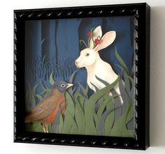 """I want to make one!   Jackalope Shadow Box (8 x 8"""")  - one of a kind. $100.00, via Etsy."""