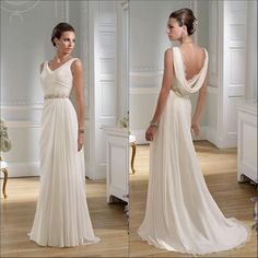Stunning 50 unique hot backless wedding dresses 2017 girlyard elegant wedding dresses 2016 beach v neck a line sweep train cowl back crystal beading pleats junglespirit Image collections