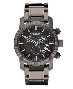 Burberry Watch, Men's Chronograph Gray Ion Plated Stainless Steel Bracelet 44mm BU7716 - Men's Watches - Jewelry & Watches - Macy's