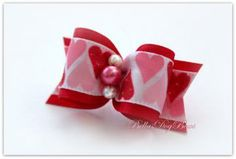 """7/8"""" Valentines Day Bow. Red Satin with Pink Rose Pearl embraced by two White Pearls  by BellasDogBows for $6.99"""