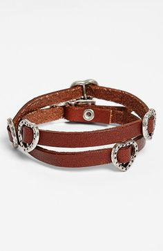 BP. Heart Charm Leather Wrap Bracelet (Juniors) available at #Nordstrom