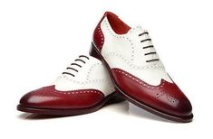 Handmade Men Two tone wing tip formal shoes, Men white and burgundy brogue shoes - Dress/Formal